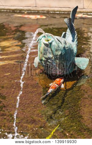 Relaxing zen fountain in a koi pond with plants and fish in a garden.