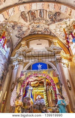 ATOTONILCO, MEXICO - DECEMBER 29, 2014 Creche Christmas Decorations Frescoes Sanctuary of Jesus Atotonilco Mexico. Built in the 1700s known as the Sistene Chapel of Mexico with Frescoes of Jesus Stories. Frescoes by Miguel Antonio Matinez between 1740 and