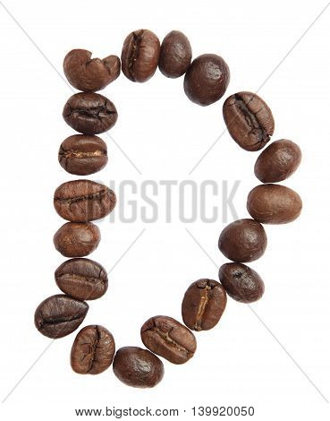 Isolated Alphabet; D Make From Coffee Bean On White Background