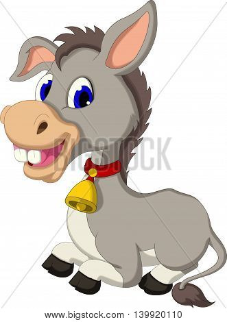 funny donkey cartoon sitting for you design