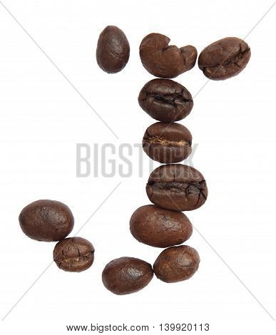 Isolated Alphabet; J Make From Coffee Bean On White Background