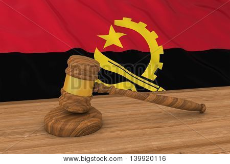 Angolan Law Concept - Flag Of Angola Behind Judge's Gavel 3D Illustration