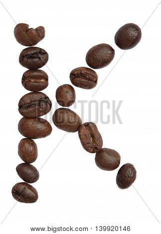 Isolated Alphabet; K Make From Coffee Bean On White Background
