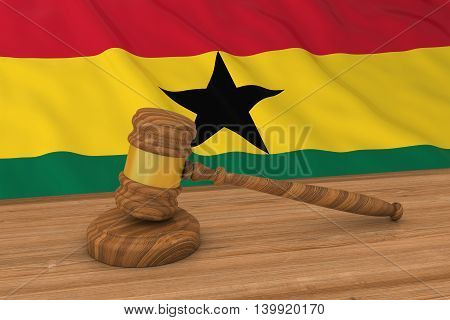 Ghanaian Law Concept - Flag Of Ghana Behind Judge's Gavel 3D Illustration