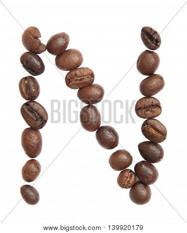 Isolated Alphabet; N Make From Coffee Bean On White Background