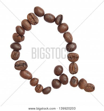 Isolated Alphabet; Q Make From Coffee Bean On White Background