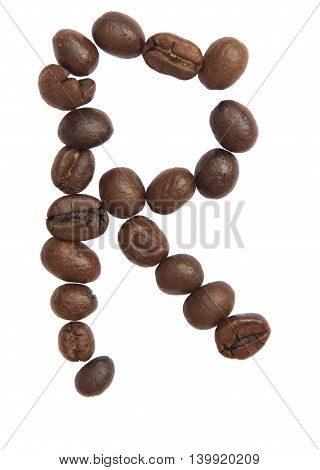 Isolated Alphabet; R Make From Coffee Bean On White Background