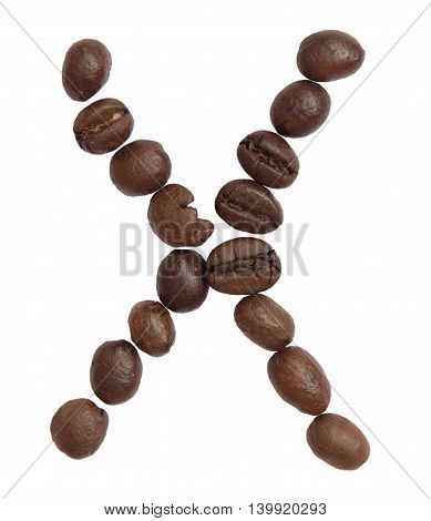Isolated Alphabet;x Make From Coffee Bean On White Background