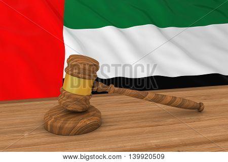 Uae Law Concept - Flag Of The United Arab Emirates Behind Judge's Gavel 3D Illustration