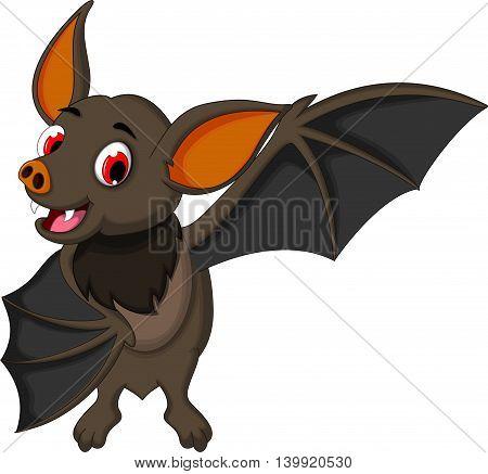 smiling bat cartoon waving for you design