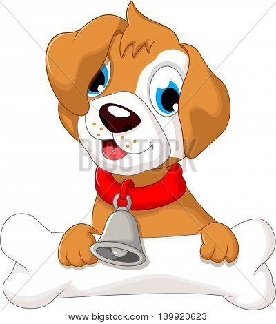 funny puppy cartoon holding bone for you design