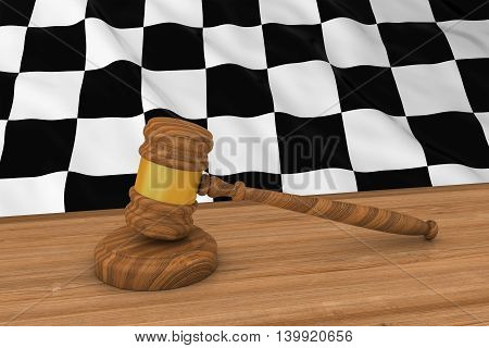 Motor Sport Racing Law Concept - Checkered Flag Behind Judge's Gavel 3D Illustration