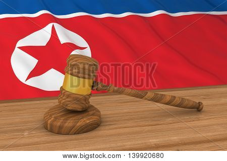 North Korean Law Concept - Flag Of North Korea Behind Judge's Gavel 3D Illustration