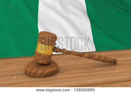 Nigerian Law Concept - Flag Of Nigeria Behind Judge's Gavel 3D Illustration