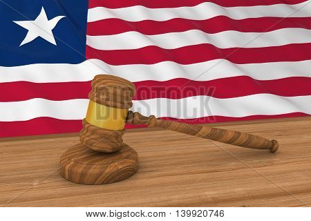 Liberian Law Concept - Flag Of Liberia Behind Judge's Gavel 3D Illustration
