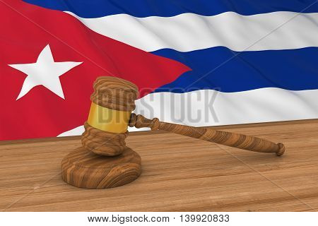 Cuban Law Concept - Flag Of Cuba Behind Judge's Gavel 3D Illustration