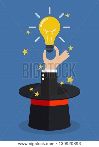 Hand hold light bulb coming out of magic hat. Vector Illustration