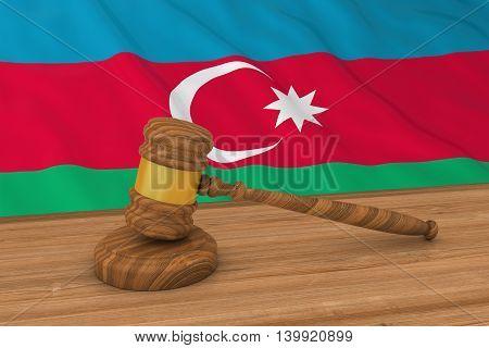 Azerbaijani Law Concept - Flag Of Azerbaijan Behind Judge's Gavel 3D Illustration