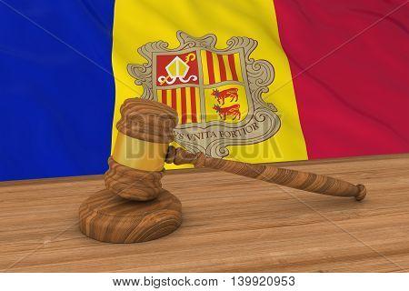 Andorran Law Concept - Flag Of Andorra Behind Judge's Gavel 3D Illustration