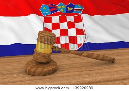 Croatian Law Concept - Flag Of Croatia Behind Judge's Gavel 3D Illustration