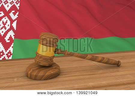 Belarusian Law Concept - Flag of Belarus Behind Judge's Gavel 3D Illustration