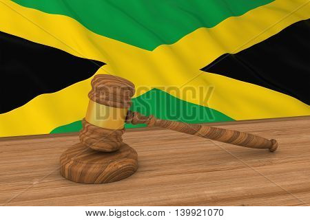 Jamaican Law Concept - Flag Of Jamaica Behind Judge's Gavel 3D Illustration
