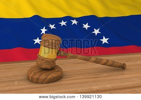 Venezuelan Law Concept - Flag Of Venezuela Behind Judge's Gavel 3D Illustration