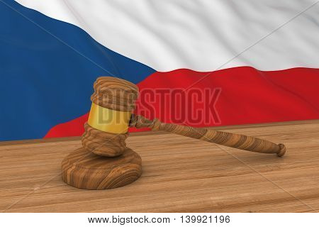 Czech Law Concept - Flag of the Czech Republic Behind Judge's Gavel 3D Illustration
