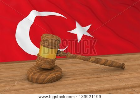 Turkish Law Concept - Flag Of Turkey Behind Judge's Gavel 3D Illustration