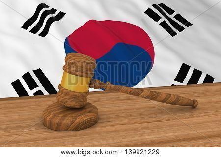South Korean Law Concept - Flag Of South Korea Behind Judge's Gavel 3D Illustration