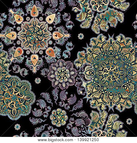 stylized colored flowers lace background on black
