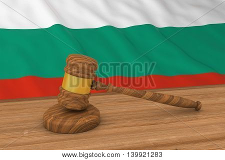 Bulgarian Law Concept - Flag Of Bulgaria Behind Judge's Gavel 3D Illustration