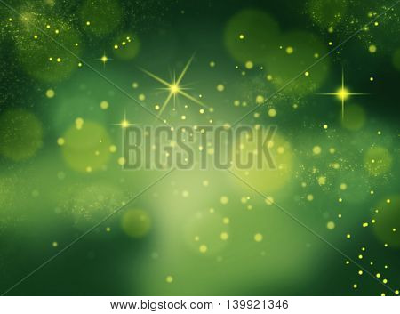 Green color bokeh background with lights spots