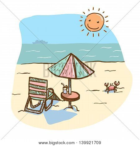 Vector hand drawn illustration of beach scenery with beach seat and umbrella table and shining sun. A scene of holiday and relaxation. There is a ship in the background and a cute red crab on the right.