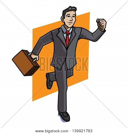 Vector illustration of a running smiling businessman carrying a brown briefcase on orange background. Businessman is showing signs of motivation and strength to reach success.