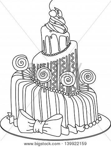 Celebration hand drawn cake sketch with lollipops. Graphic art for coloring book or decoration. Sweet dessert for holiday.
