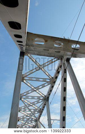 Railway metal bridge perspective view. Steel and blue sky