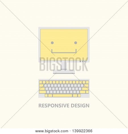 Vector illustration of computer monitor and keyboard in calm colors. Responsive design funny concept with a smile on a screen. Flat style