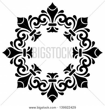 Oriental round frame with arabesques and floral elements. Floral fine back and white border. Greeting card with place for text