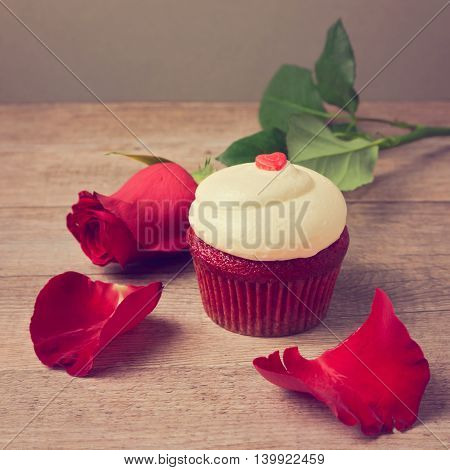 Valentine's day cupcake with red roses and petals on wooden table