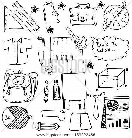 School education doodles suplies bag paper board vector art