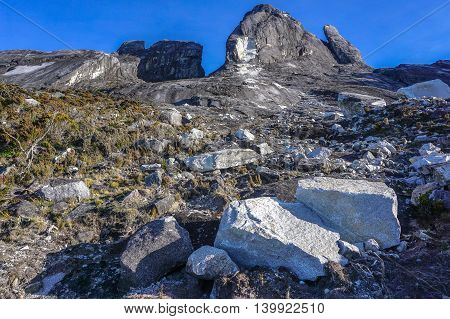 Ranau,Sabah,Borneo-March 13,2016: Close up view of Mountain Kinabalu after earthquake on 7th June 2015. Climbing season officially start on Dec 1, 2015 closure due to earthquake in June 2015 with new trail to summit known as Ranau trail
