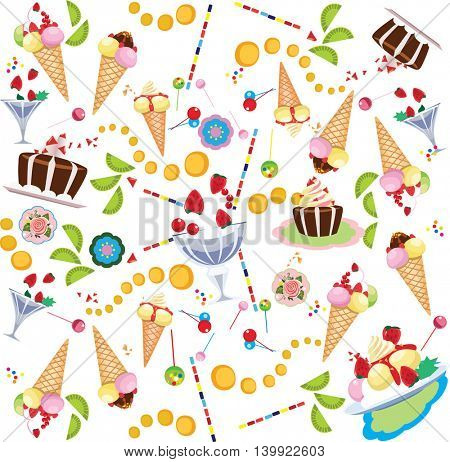 seamless cartoon  pattern of sweet food