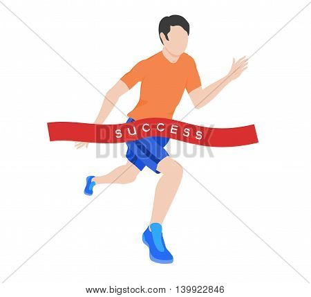 The runner crosses the finish line. Red ribbon with the word success. Athlete in an orange shirt and blue sneakers in an isometric view. vector