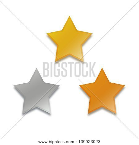gold silver bronze stars set isolated on white
