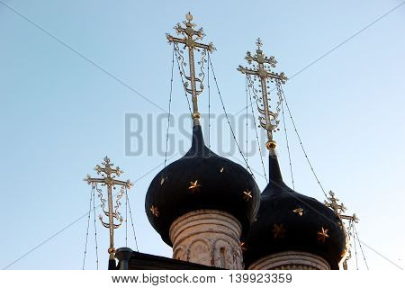 The Russian Orthodox Church in the Vologda city, Russia. Summer sunny day. Part of the bell tower