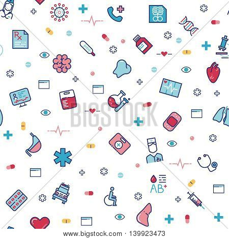 Medical healthcare vector seamless pattern with line medicine icons. Medical pattern with syringe and human organs, illustration of backdrop for medical hospital