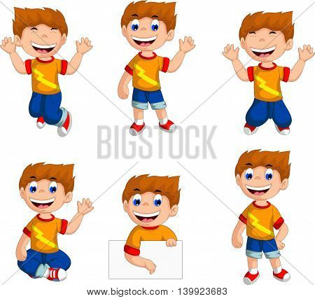 collection of expression of funny boy cartoon