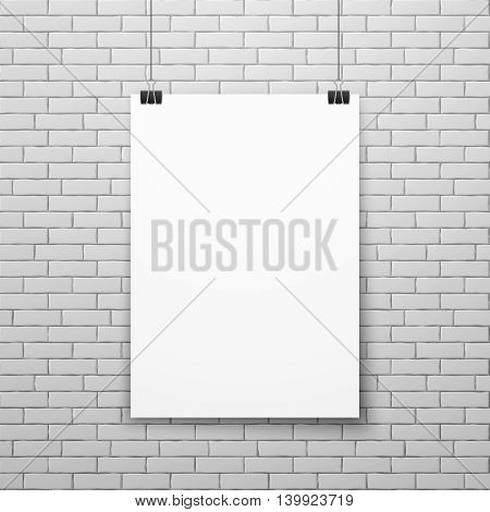 Blank white poster on brick wall vector illustration. Empty paper poster isolated on wall. Exhibition with white banner or poster