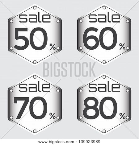 Sale discount labels. Special offer price signs. 50 60 70 and 80 percent off reduction symbols.